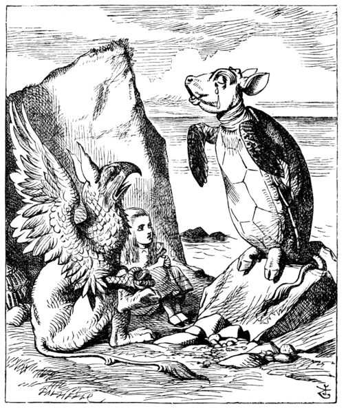 Alice in Wonderland illustration by John Tenniel (1865), depicting the Gryphon, Alice and the Mock Turtle
