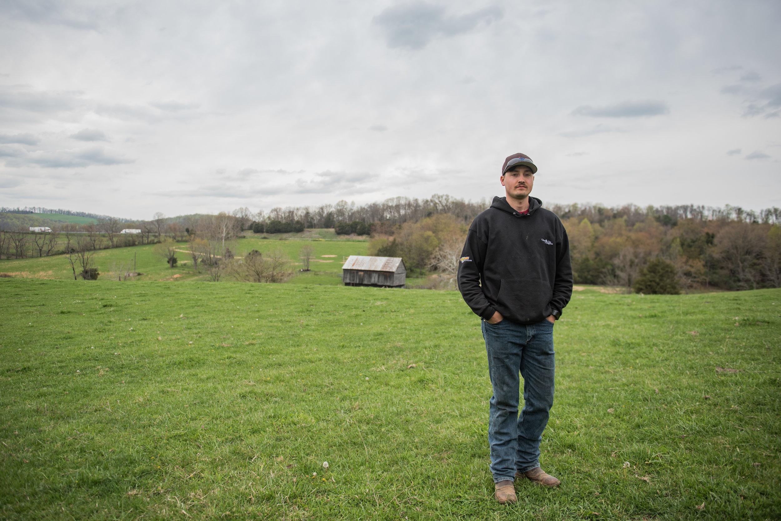 Logan Grant stands on his parent's Timber Ridge property.