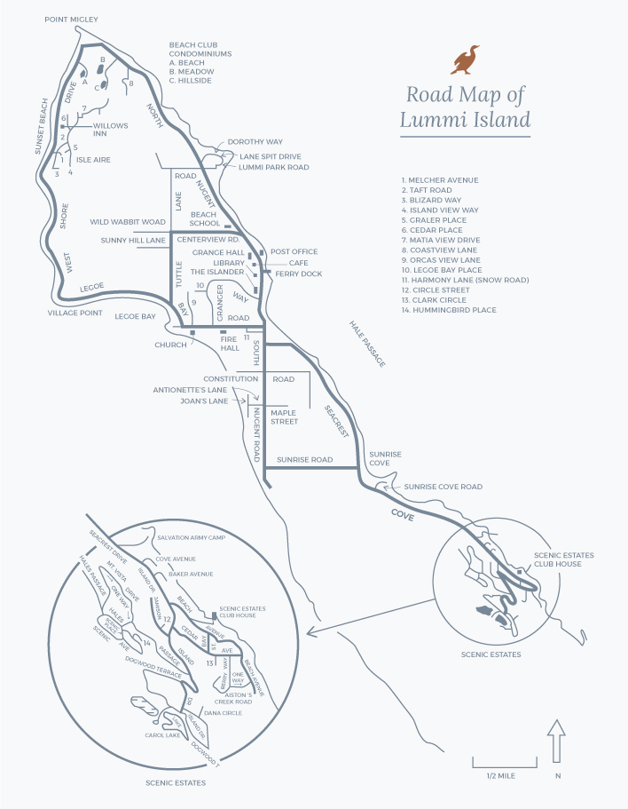 Map of Lummi Island, Pugent Sound, Washington