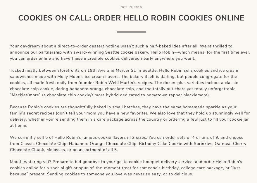 Hello Robin Cookies SEO Content