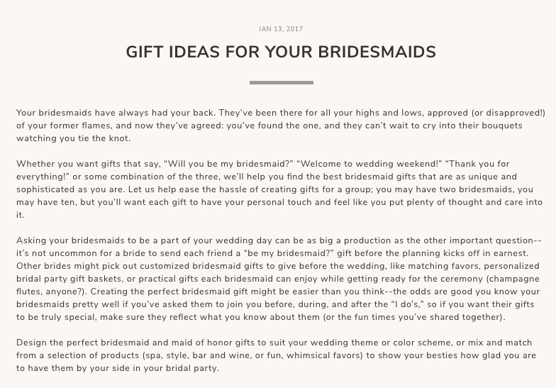Gift Ideas For Bridesmaids SEO Content