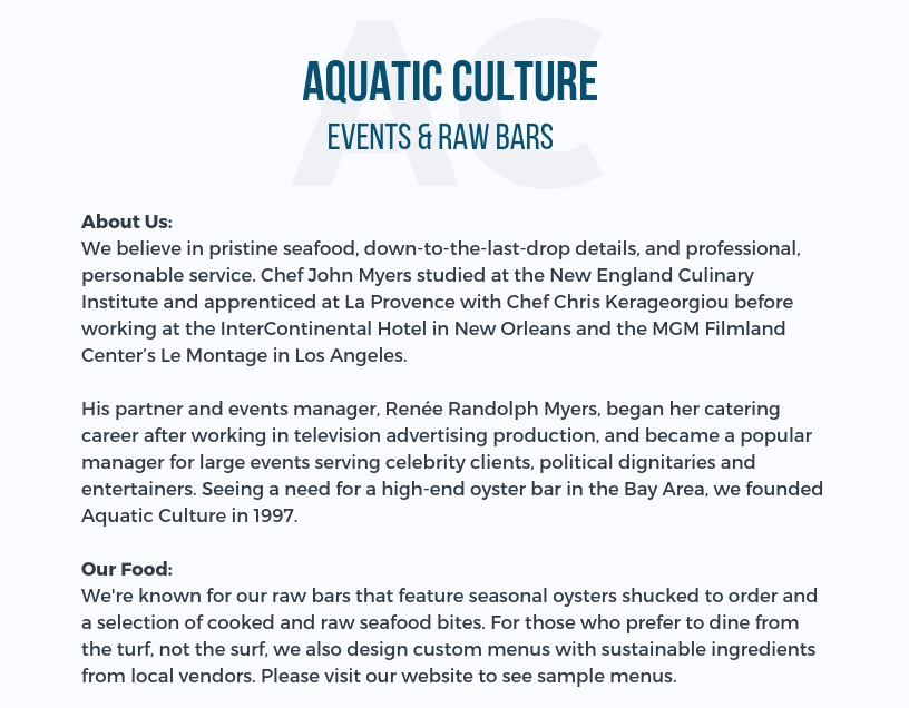 Aquatic Culture Events  customer info one-pager