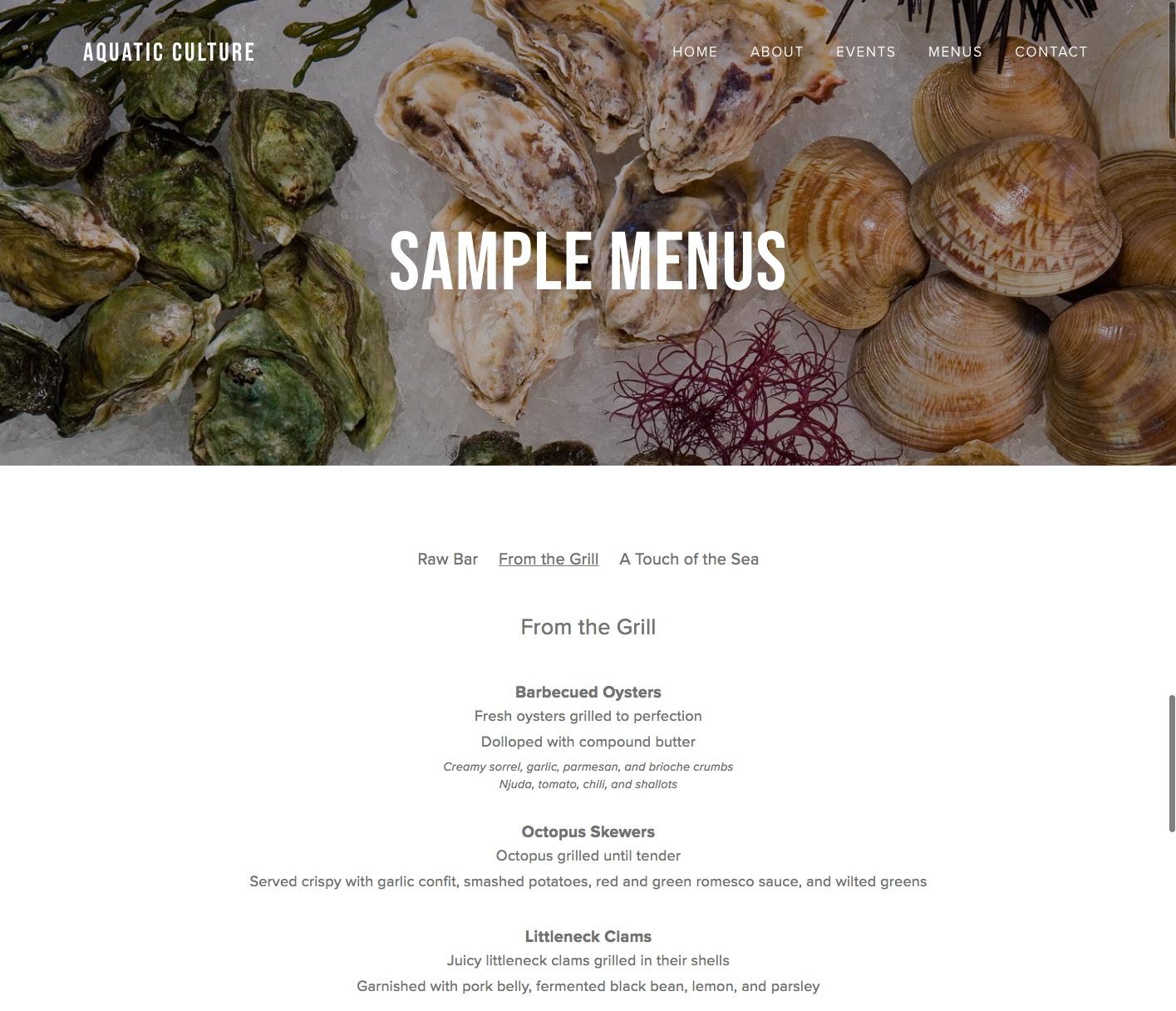A new look for  Aquatic Culture's sample menu