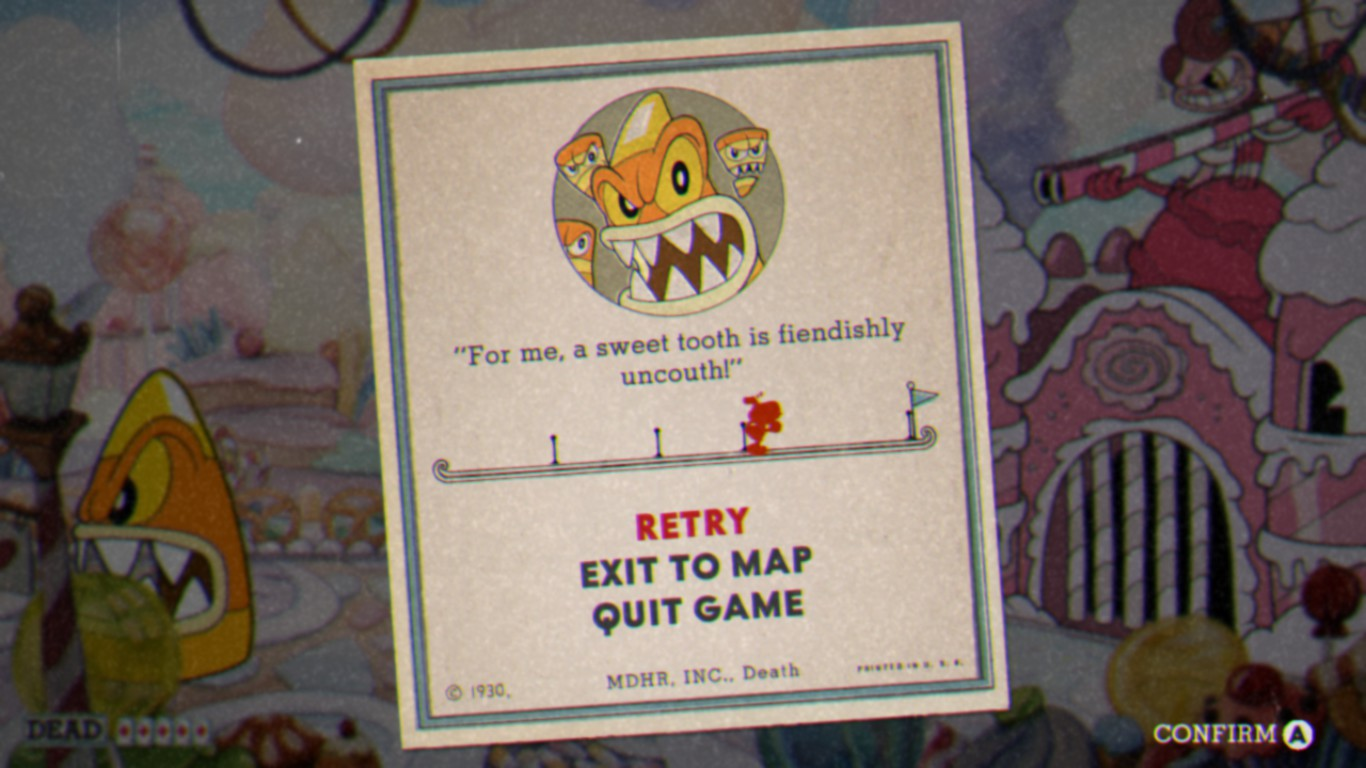 A progress bar from the amazing  Cuphead.  Players love to see how close they are to success.