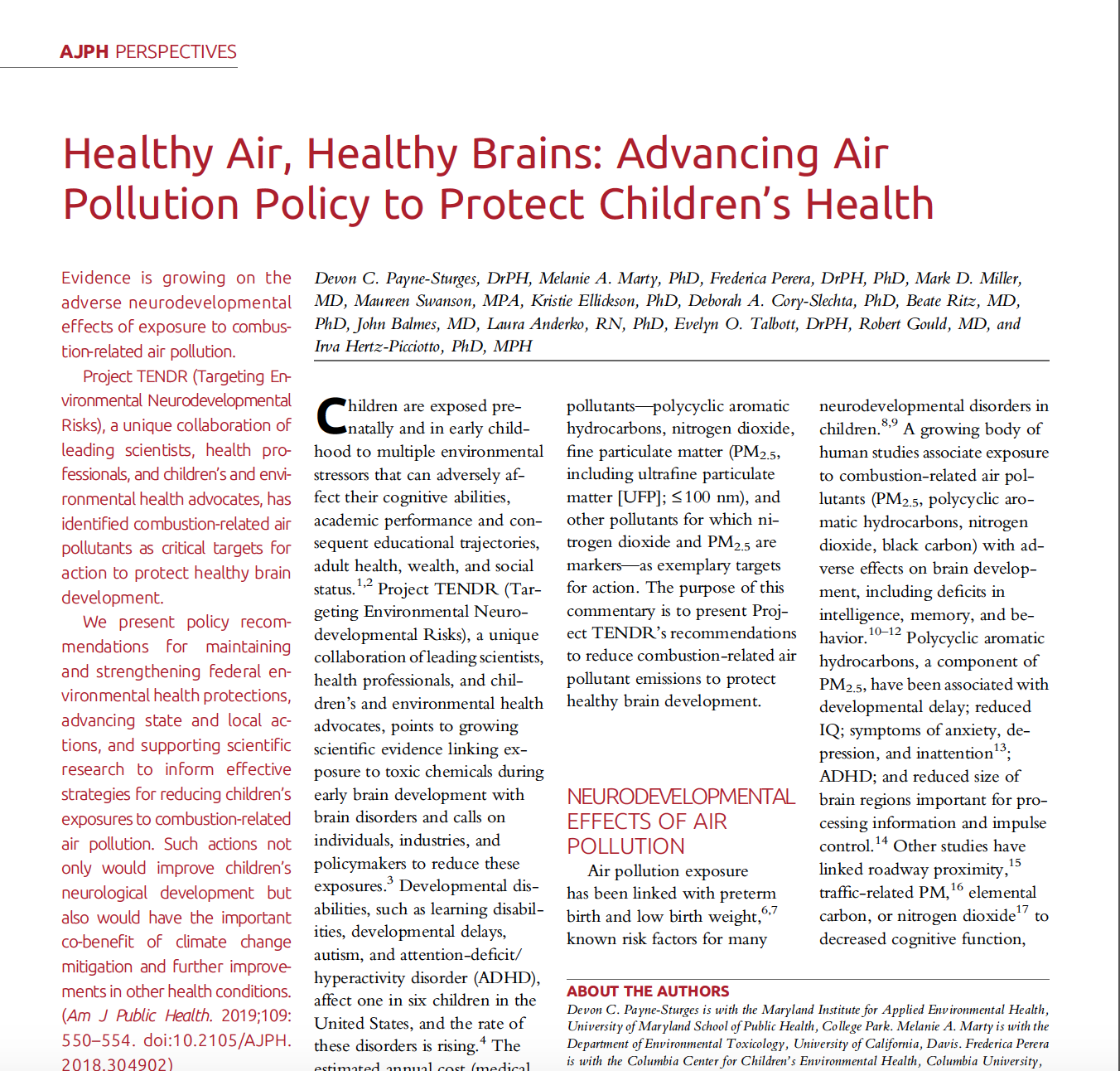 AJPH: Healthy Air, Healthy Brains