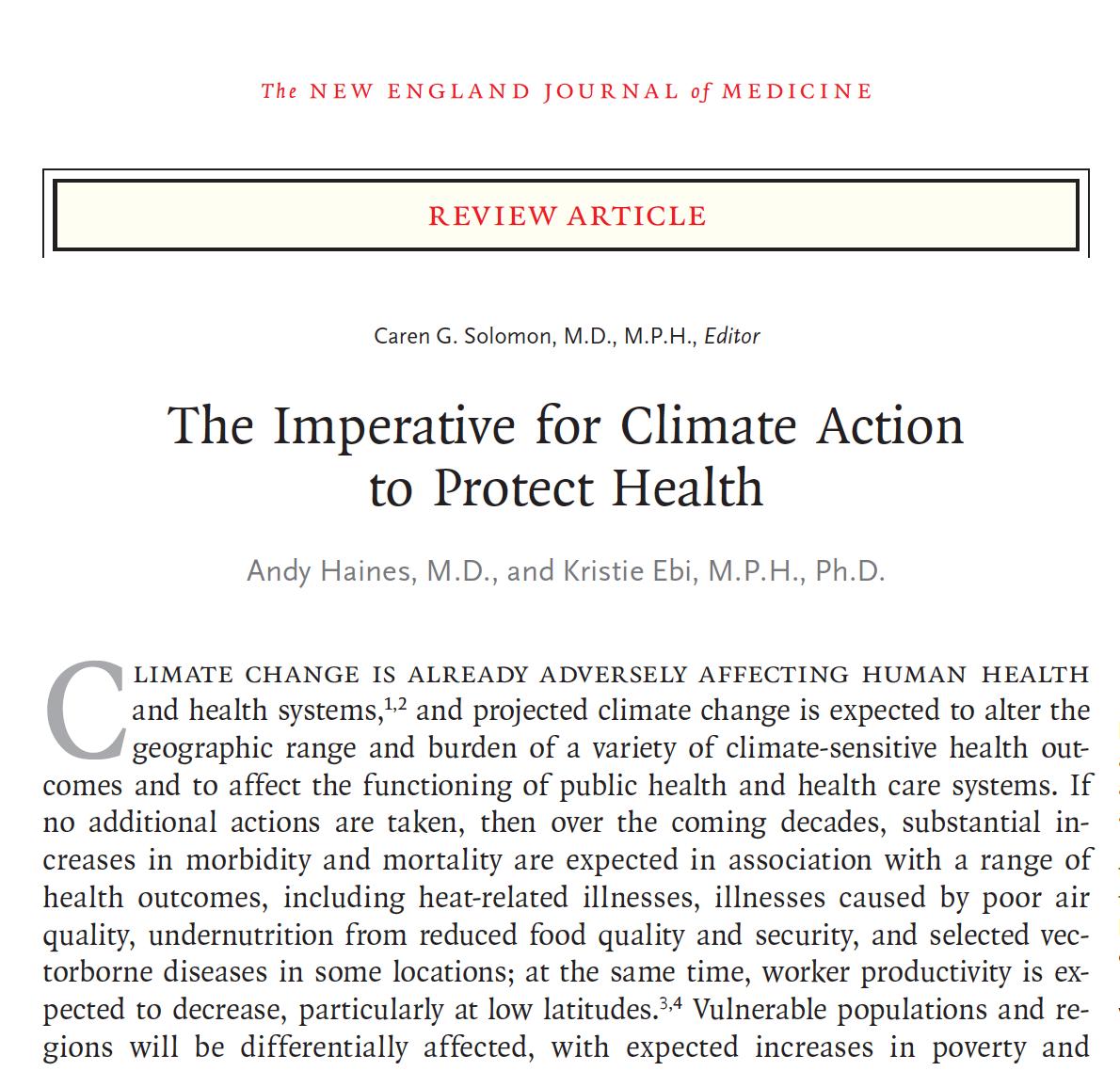 NEJM: Climate Emergency