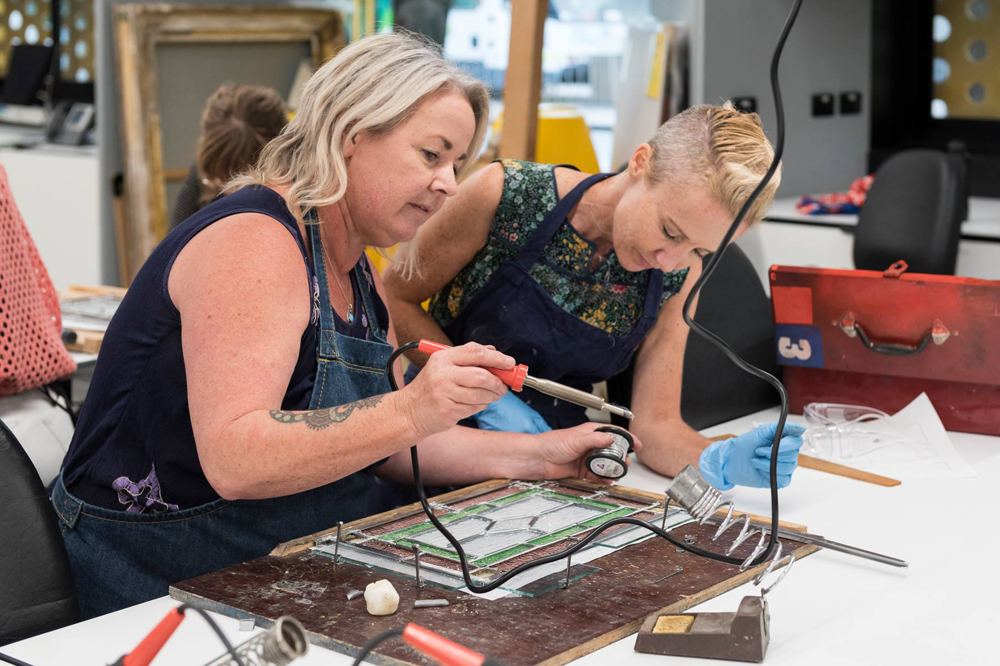 The first part of the workshop was held in the Grimwade Centre lab. Pictured are Deb Balen (left) and Lisa Mansfield
