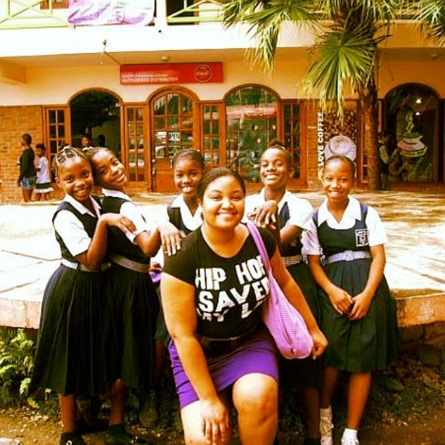 Being schooled by the girls in Port-au-Prince, Haiti...