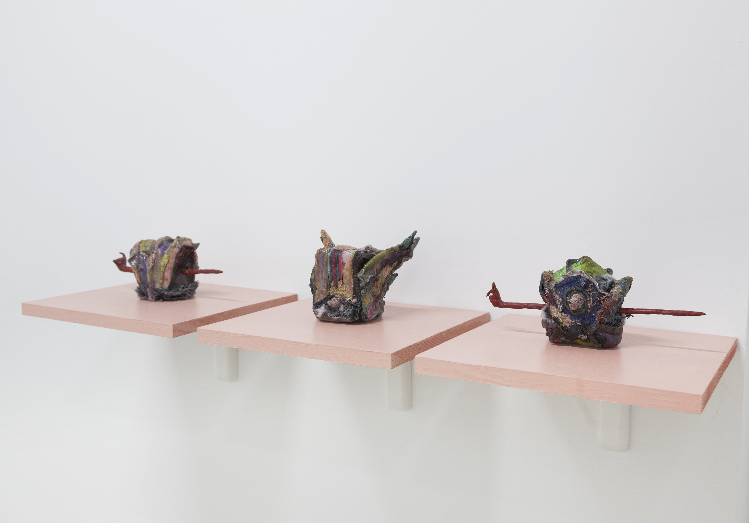 Catalina Ouyang,  Imperial Coronet , 2017. Discarded sneakers, epoxy clay, epoxy resin.