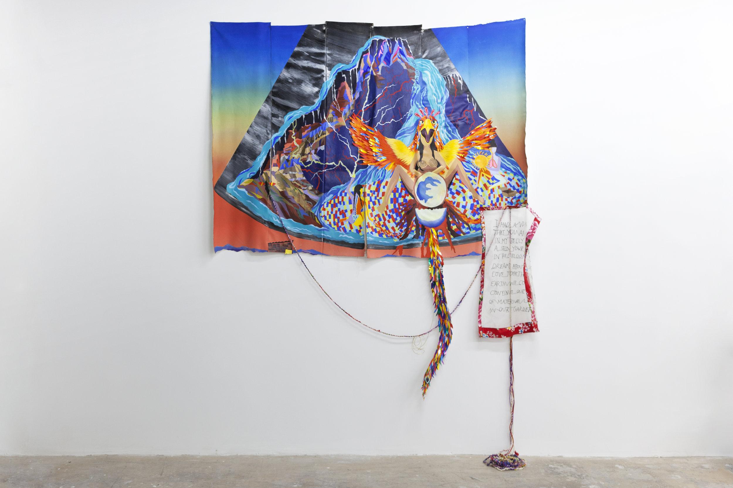 Iris Yirei Hu,  Sky sonogram , 2017. Oil, acrylic, gouache, collage, emboidery, textiles on canvas.