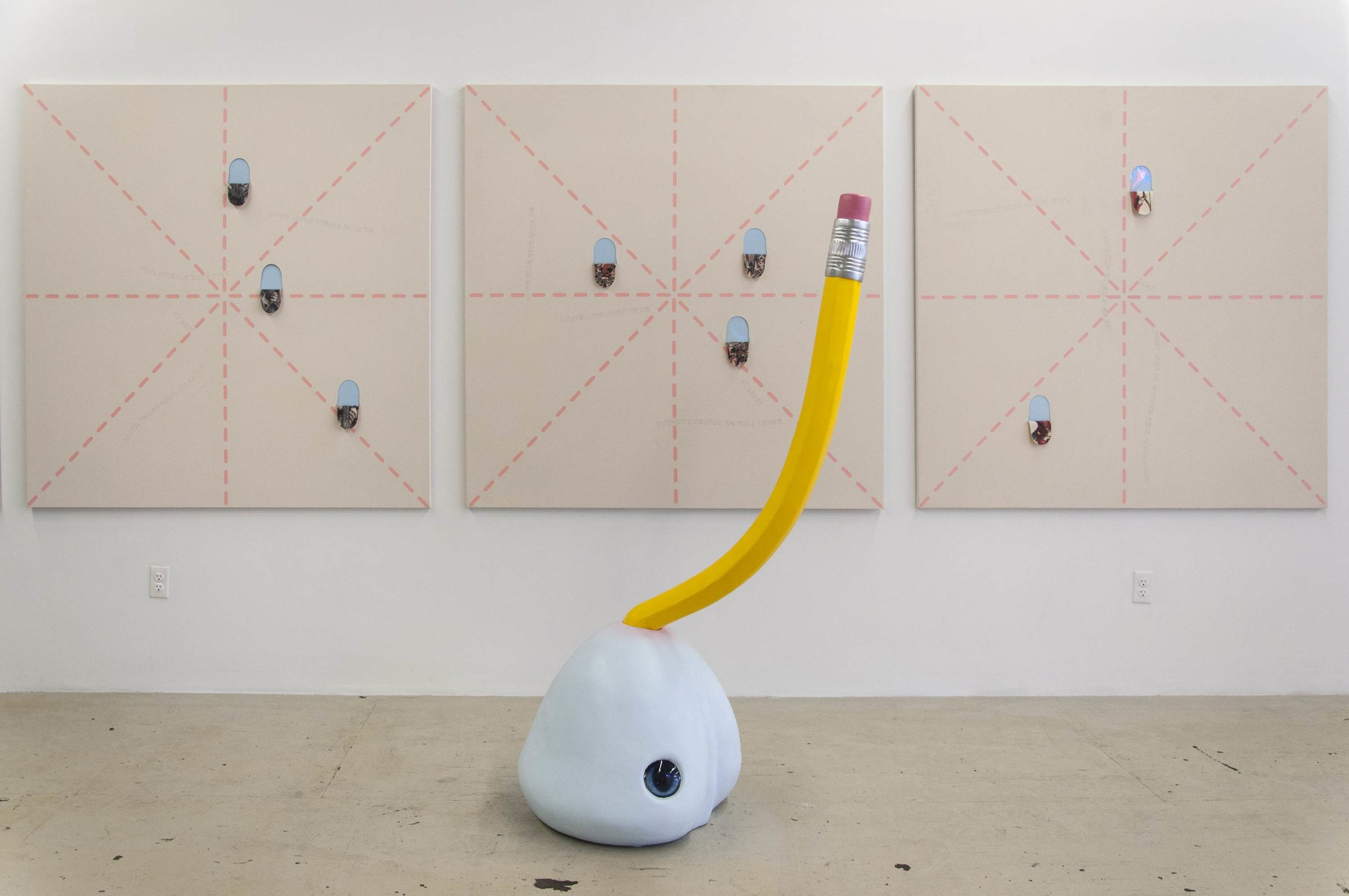 Installation View, Blue Boy Character Exercise, 2016