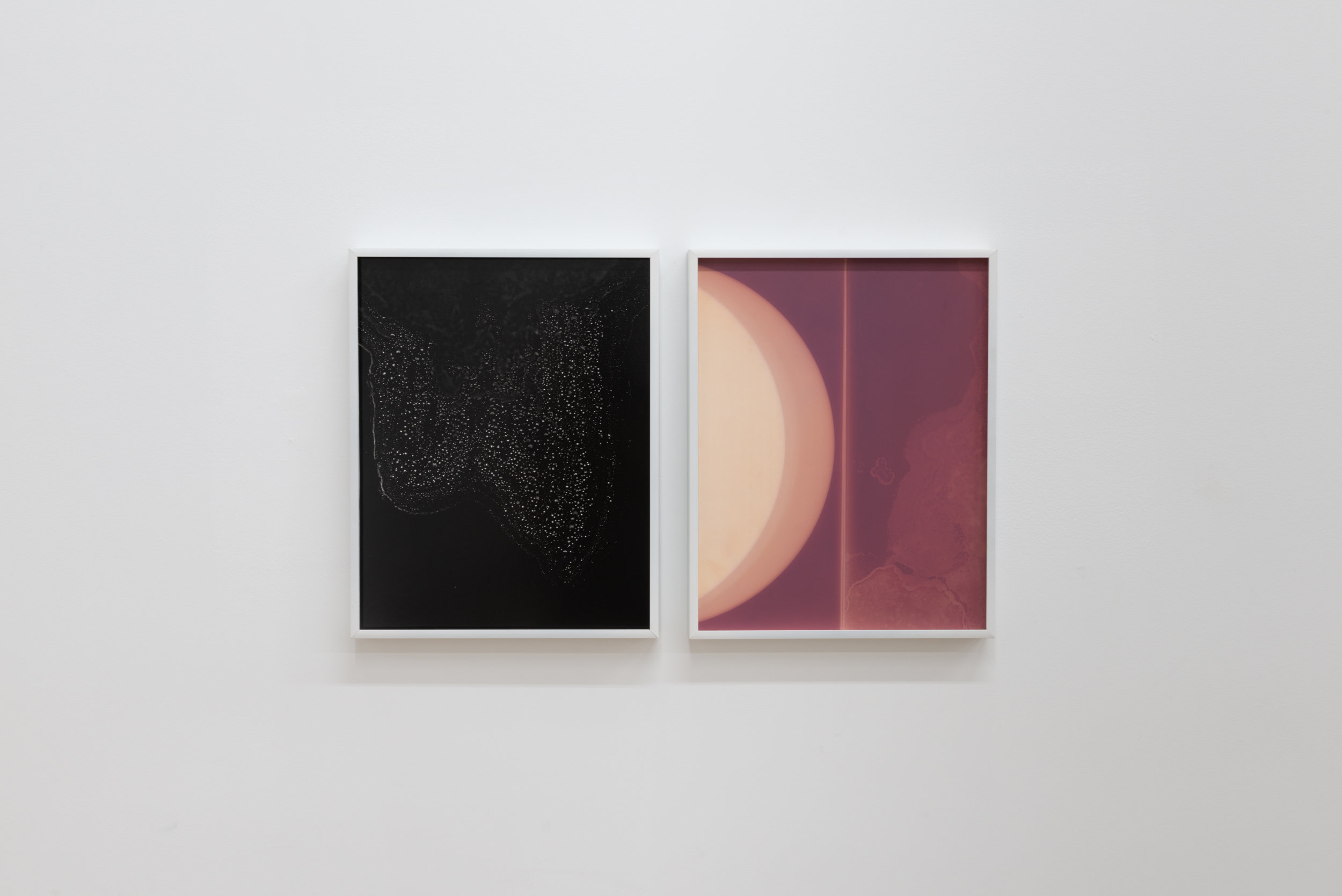 Left:  Flow Genesis 06, 2018.   Right:  Flow Genesis 05, 2018.  Unique Silver Gelatin Photogram.