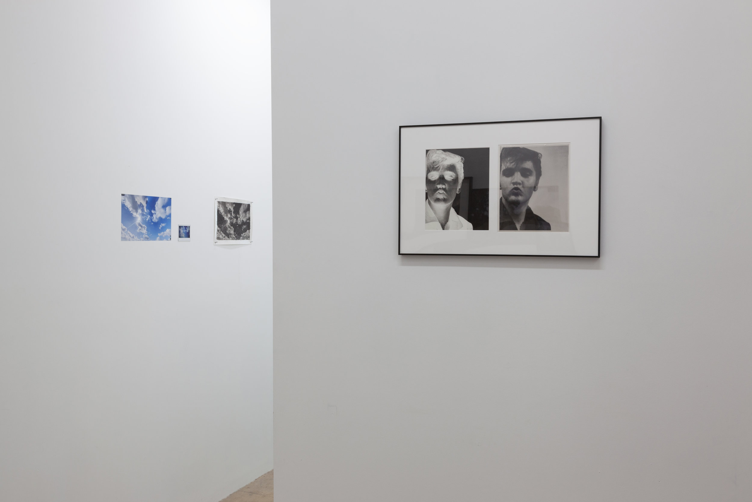 On Left:  Sketch – Sky , 2019. Charcoal on pages of  On the Road  archival pigment print.  On Right:  Portrait - Elvis Presley , 2018-19. Ink and graphite on paper, black and white negative photographic plate.