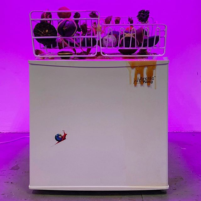 Mo Kong, Seeking The Common Ground, 2019. Mini freezer, handmade popsicles with newspaper confetti, dish racks, preserved tropical fruit, frozen cube fruit, plant lights, 18 x 19 x 27 inches. -  Making A Stationary Rain On The North Pacific Ocean, a solo exhibition by Mo Kong, curated by Steffani Jemison. Blurring fact and fiction, art and science, truth and near-truth, the artist turns the gallery into an immersive installation exploring a not-so-distant future in which China and the United States are in the midst of a political Cold War, echoed externally by an atmospheric antagonism rendered by climate change that has turned China and the U.S. into the hot and cold centers of the world. The exhibition opens today and will be on view through July 10, 2019. - We are excited to include Mo Kong's work in our upcoming group exhibition opening in June 22. Stay tuned! #mokong