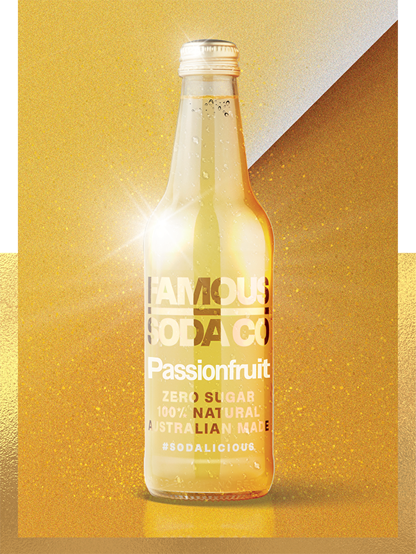 PASSIONFRUIT - Let our Passionfruit Soda give you a masterclass on making a statement. Bubbly, bold and full of sass, this one leaves a lasting impression long after the lights come up.It's not afraid to pack a punch, leaving you with a spring in your step and a zing on your tongue.