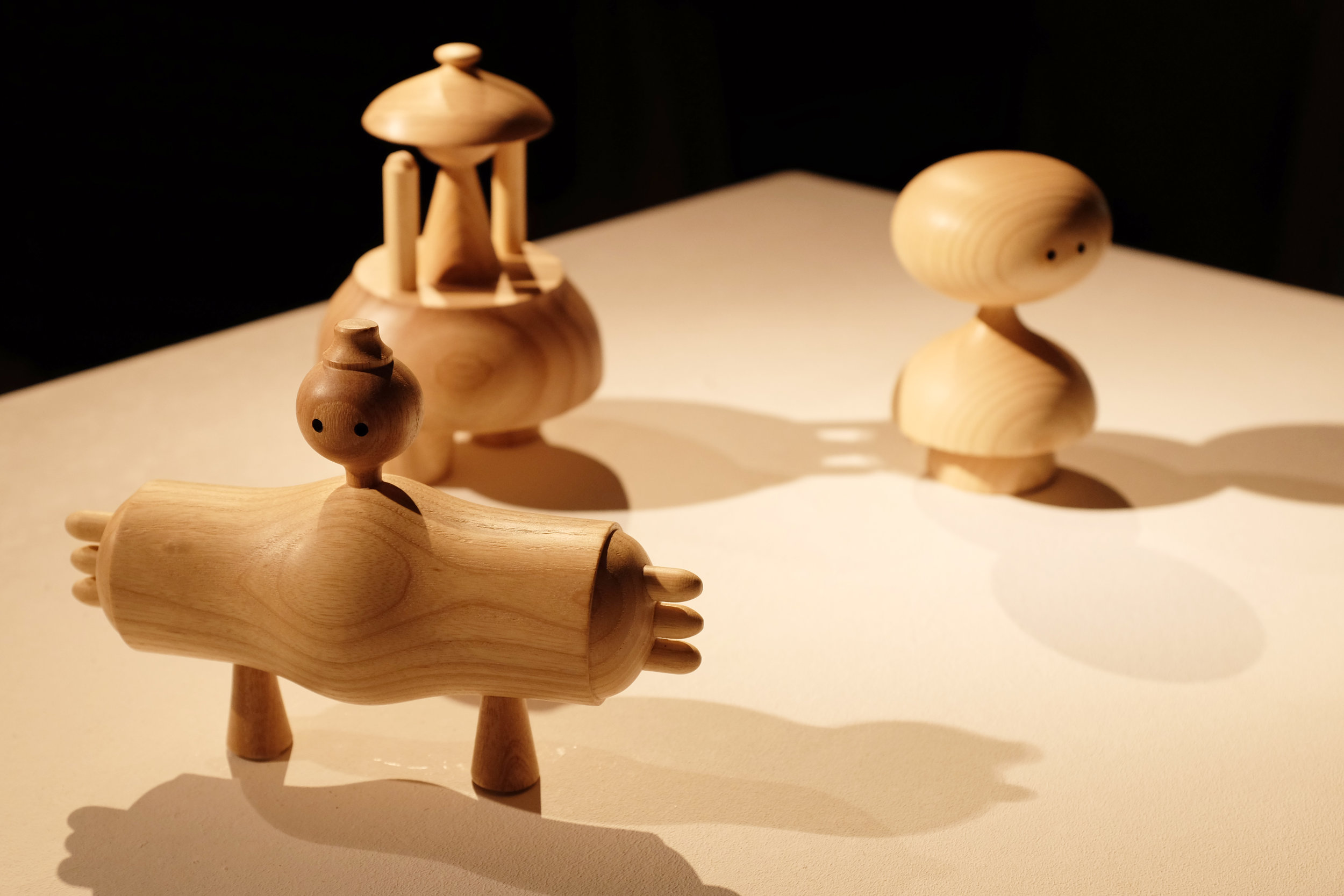 A trio of ash hand-lathed figures, skilfully created by  Special Branch Furniture
