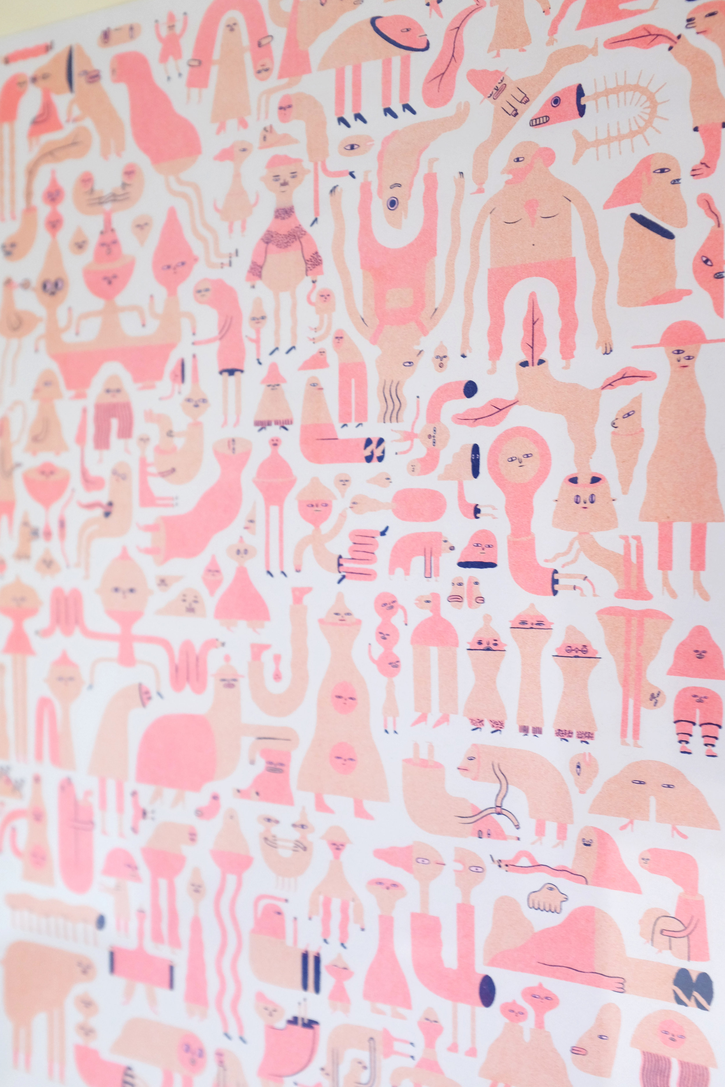 Wobbleparty 3-colour Riso print, features 150 individual characters.