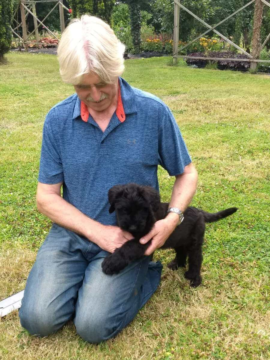 Finbar with Rob on his first day with us