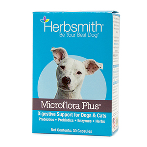 The Ultimate Digestive Support - Microflora Plus is a great option for keeping your dog's digestive system regular. Even the healthiest of dogs can benefit from a solid probiotic, as Microflora offers nutritional benefits for pups in all seasons of life. From room-clearing toots to the occasional bout of diarrhea, our digestive supplement can help provide relief for the GI tract (…and for your nose in the case of the gassy pooch!).
