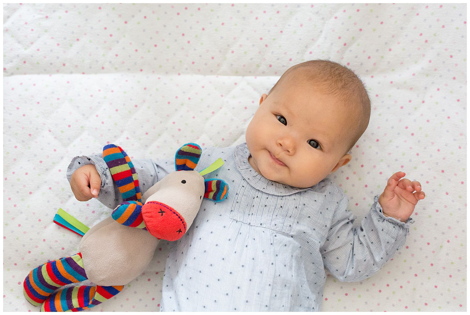 baby lying in cot with toy