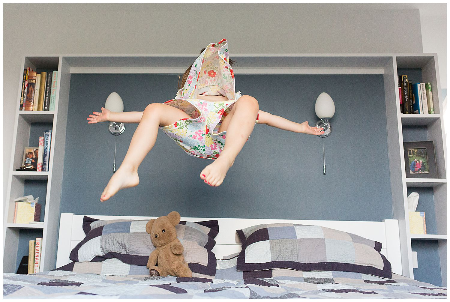 3 year old jumping on the bed