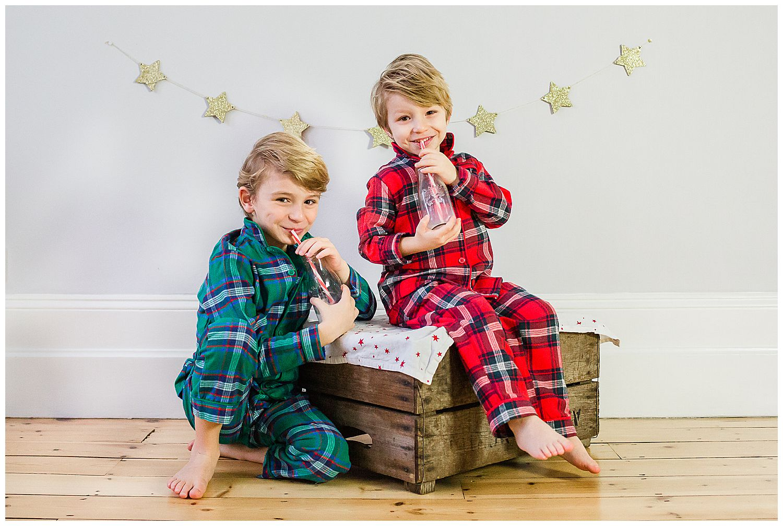 boys in christmas pjs