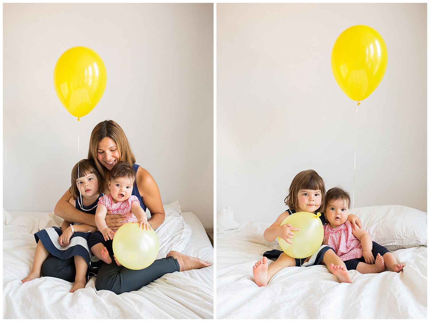 mum and two daughters and yellow balloons
