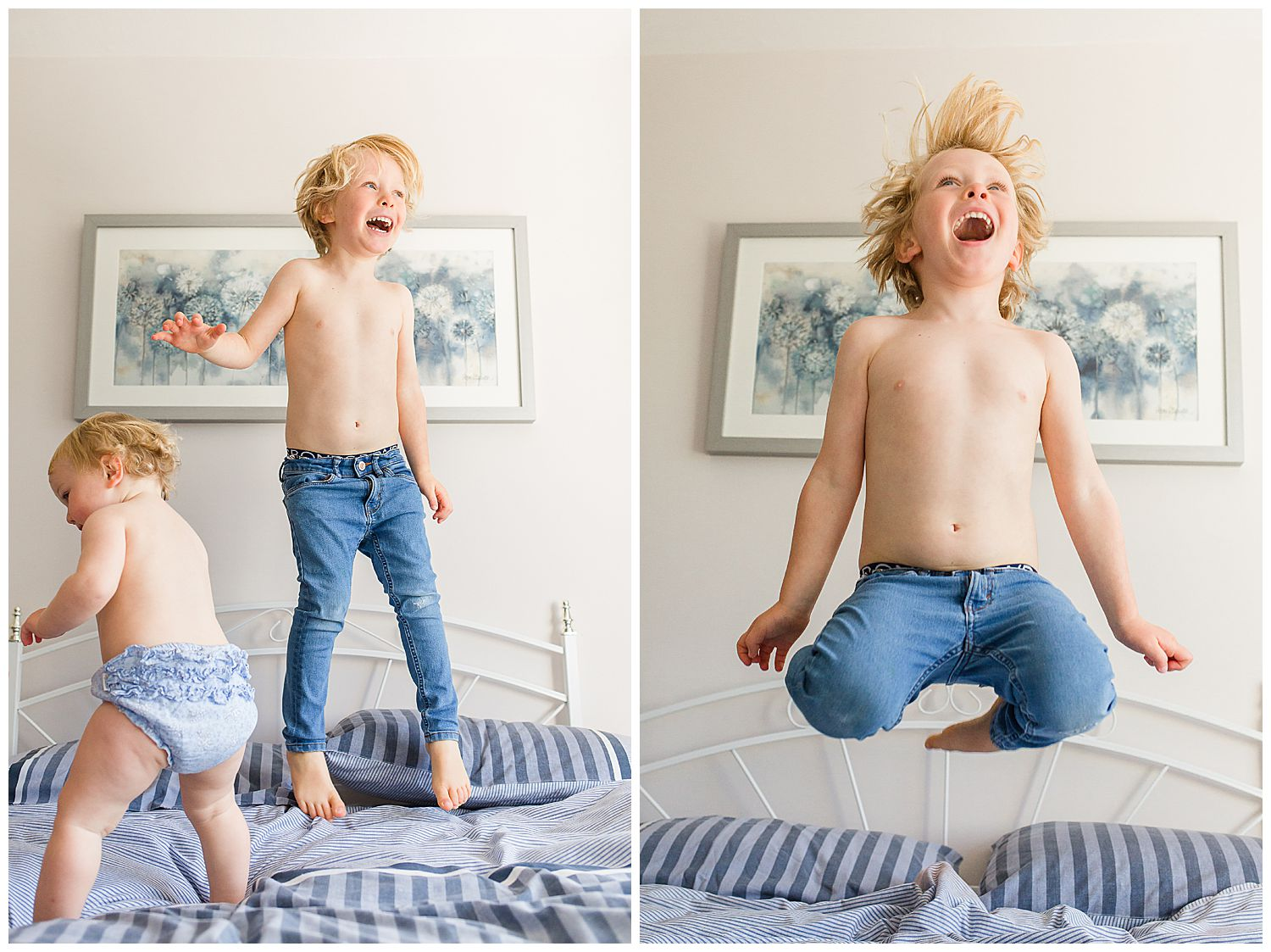 baby & brother jumping on bed
