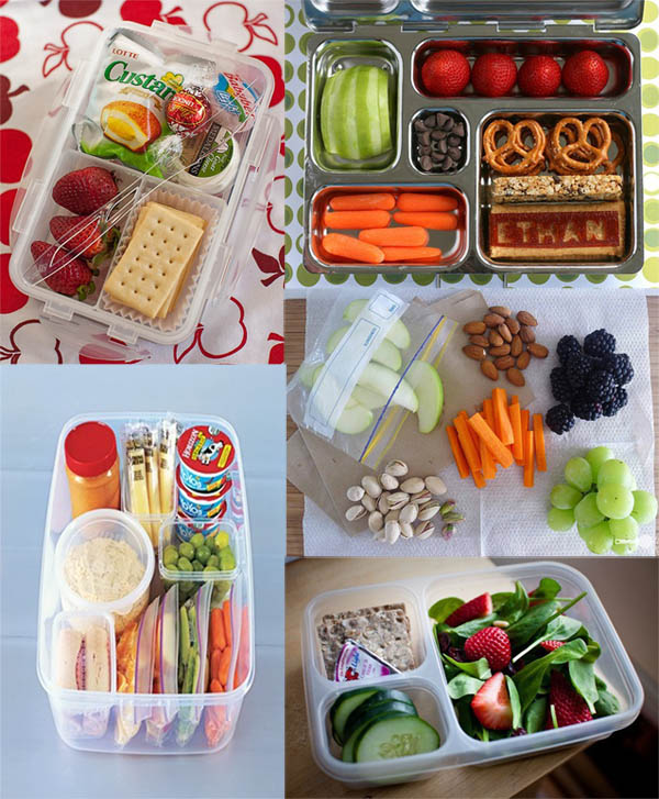 Tomorrow morning I am headed to New Mexico for work for a few days. I hate that airlines don't serve meals on domestic flights anymore so I've decided to pack a few snacks for the air. Browsing  Pinterest , I found some great ideas for snacking while traveling.  Here are a few quick and easy snack ideas to much on while 30,000 feet up in the air that are TSA friendly,  Hummus and Veggies  Cheese and Crackers  Clean eating salads like the Spinach and Strawberry Salad pictured above.  Fresh Fruit and Nuts  Homemade Granola Bars  Peanut Butter and Banana Sandwiches  What's your favorite food to snack on while your on the go?
