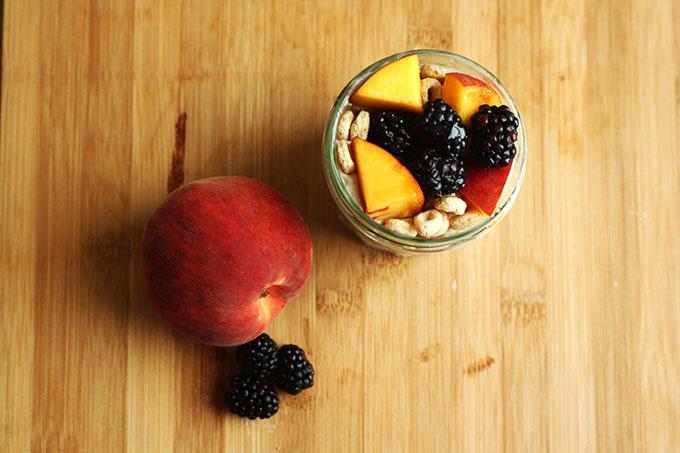 Berry Peach Peanut Butter Yogurt Parfaits