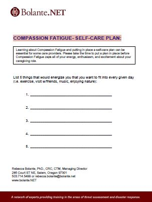 Compassion Fatigue Self-Care Plan