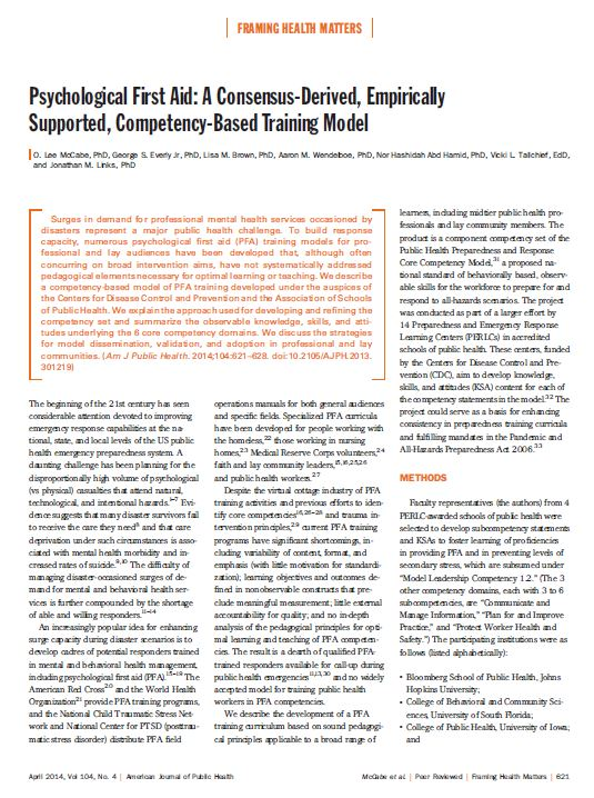 PsychologicL First Aid: A Consensus-Derived, Empirically Supported, Competency-Based Training Model