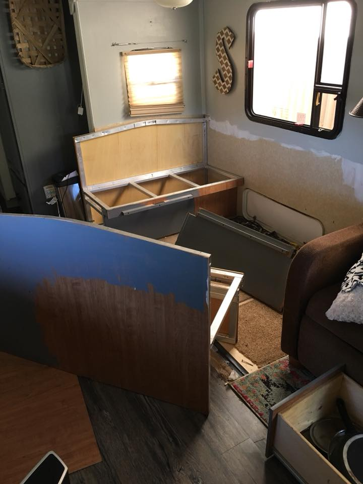 Removing the dinette in an RV