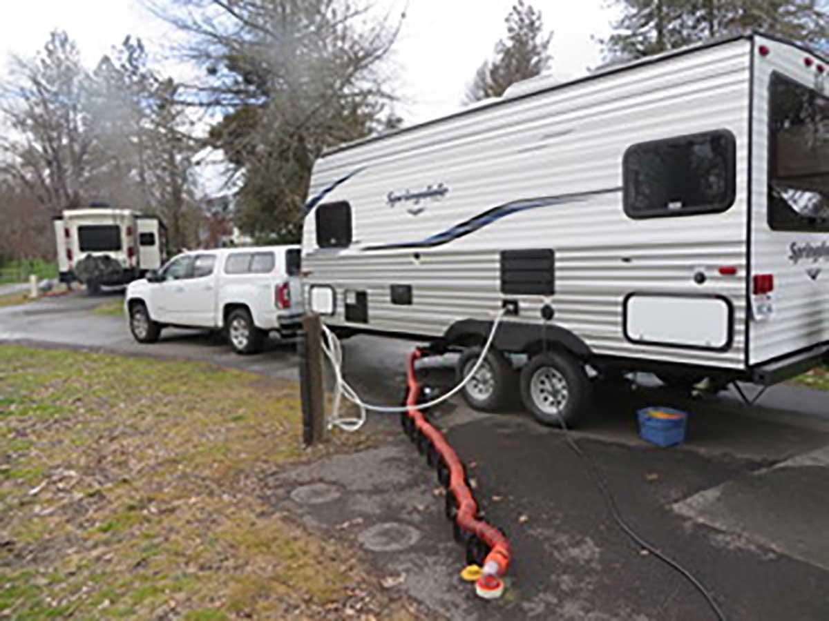 Linda's camper all set up for adventure.