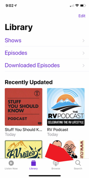 Tap on the Apple Podcasts logo. Tap on the magnifying glass and search for StressLess Camping.