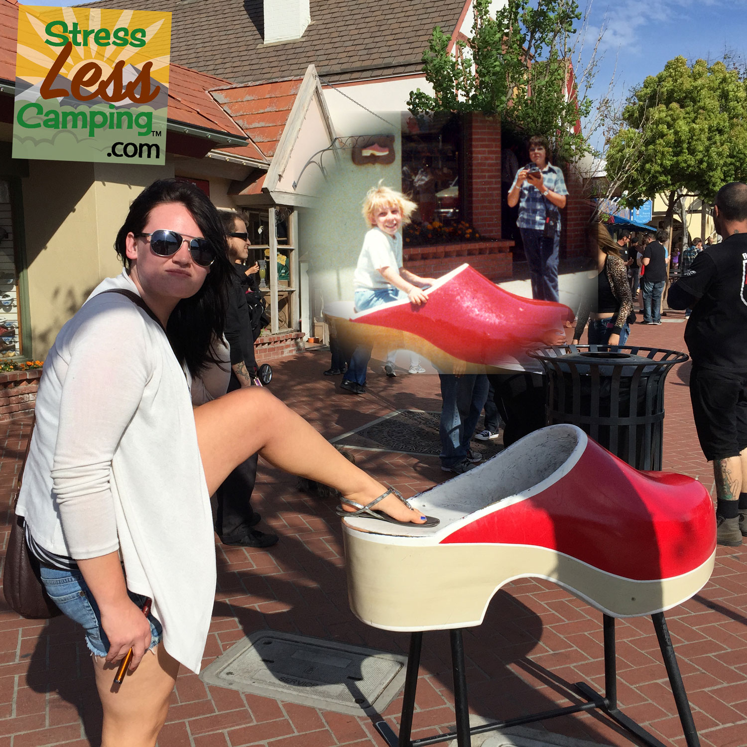Our niece with her foot in Solvang Shoe Store's wooden shoe recently with the same shoe in the inset from 1977.