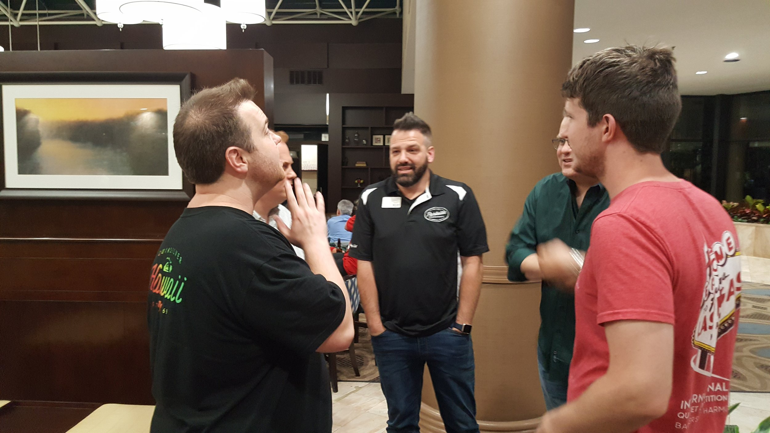 A pick-up quartet in the hotel lobby with Tim Waurick, Tyler Rackley, and Sean Devine.