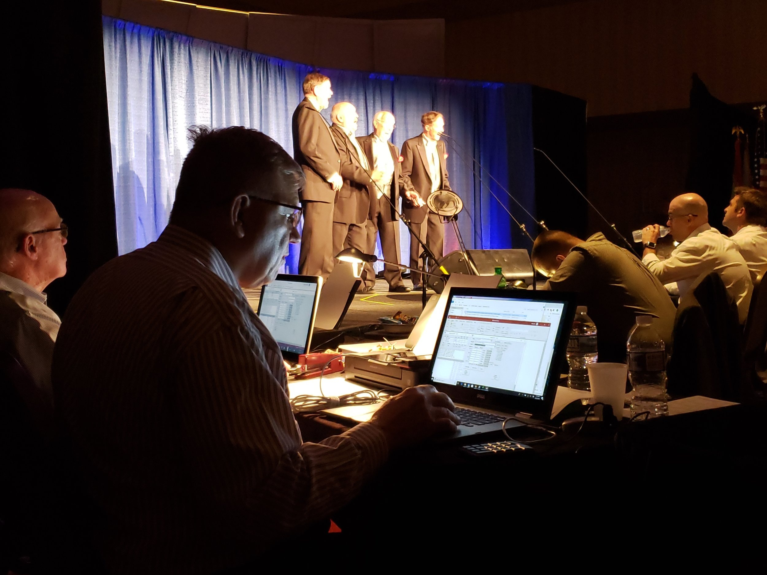 Behind the scenes of the judging and recording of the scores.