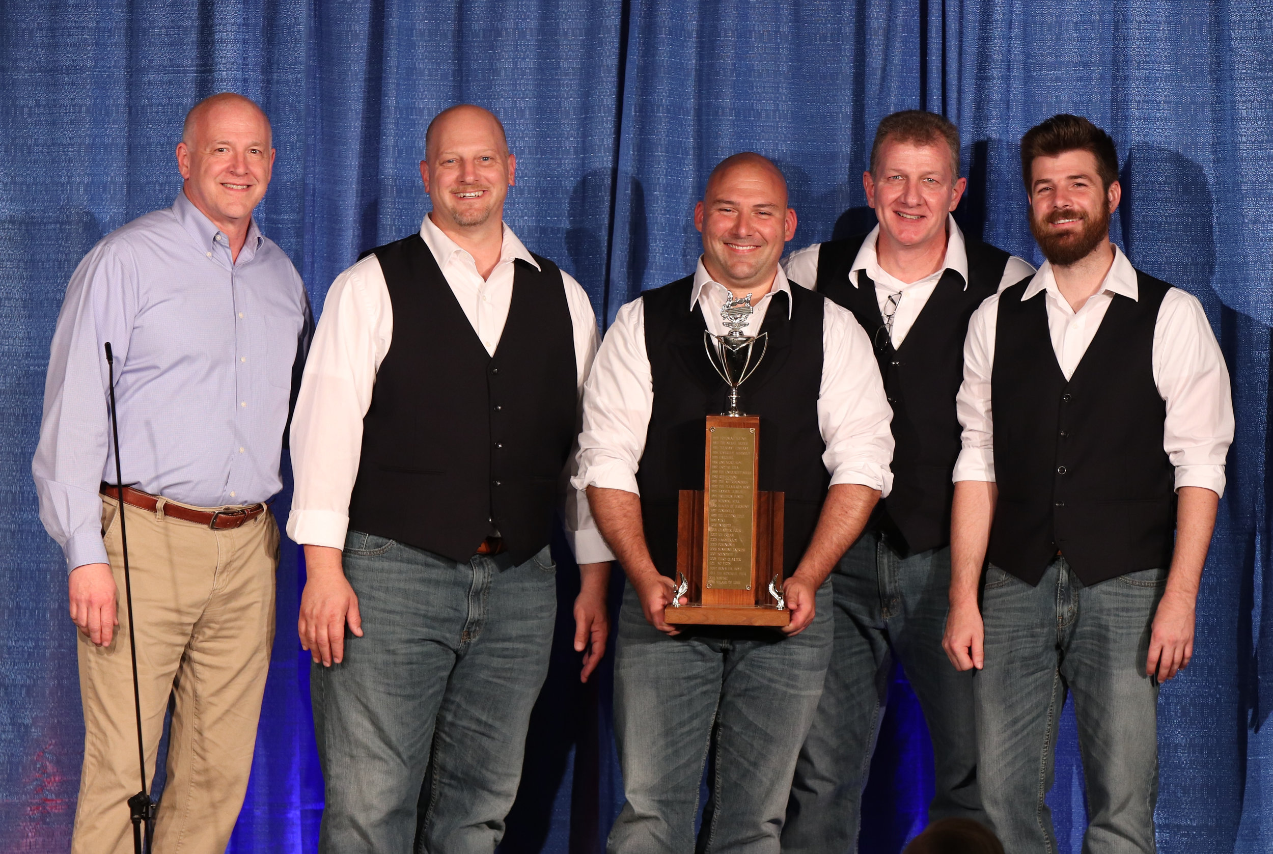 Chordial accepting their trophy for Best Novice Quartet