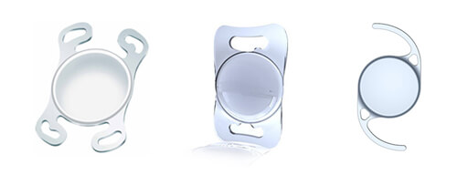 Three types of intra-ocular lenses used to restore vision after the cataract has been removed