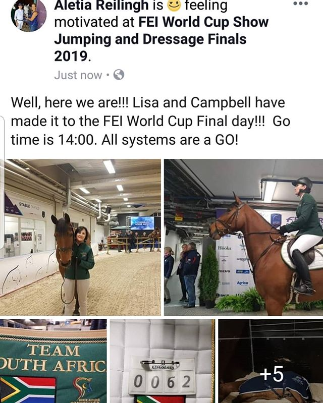 Well, here we are!!! Lisa and Campbell have made it to the FEI World Cup Final day!!! Go time is 14:00. All systems are a GO!