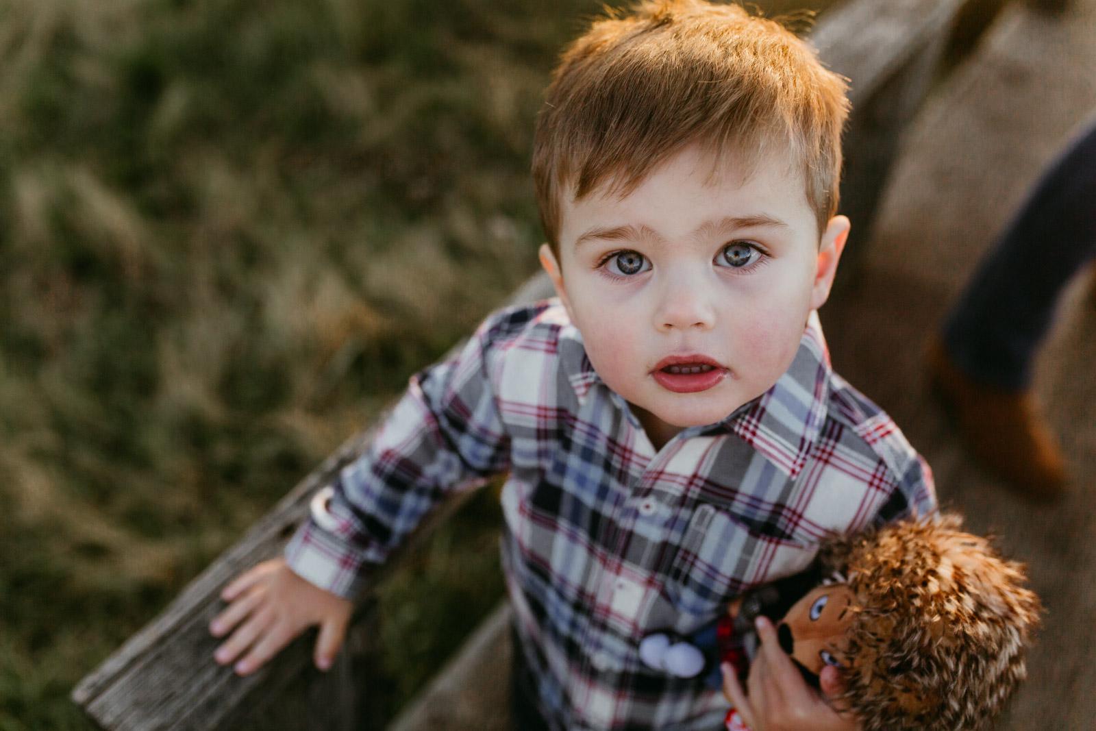 portrait of a toddler boy; Claude Moore Park, Sterling, VA