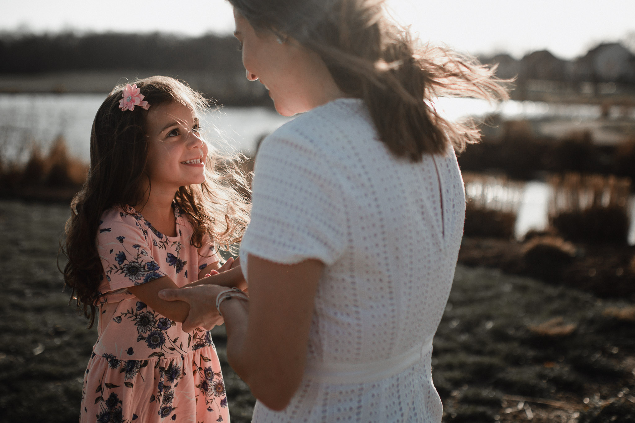 mother and daughter play together at Willowsford Boat House Aldie, VA