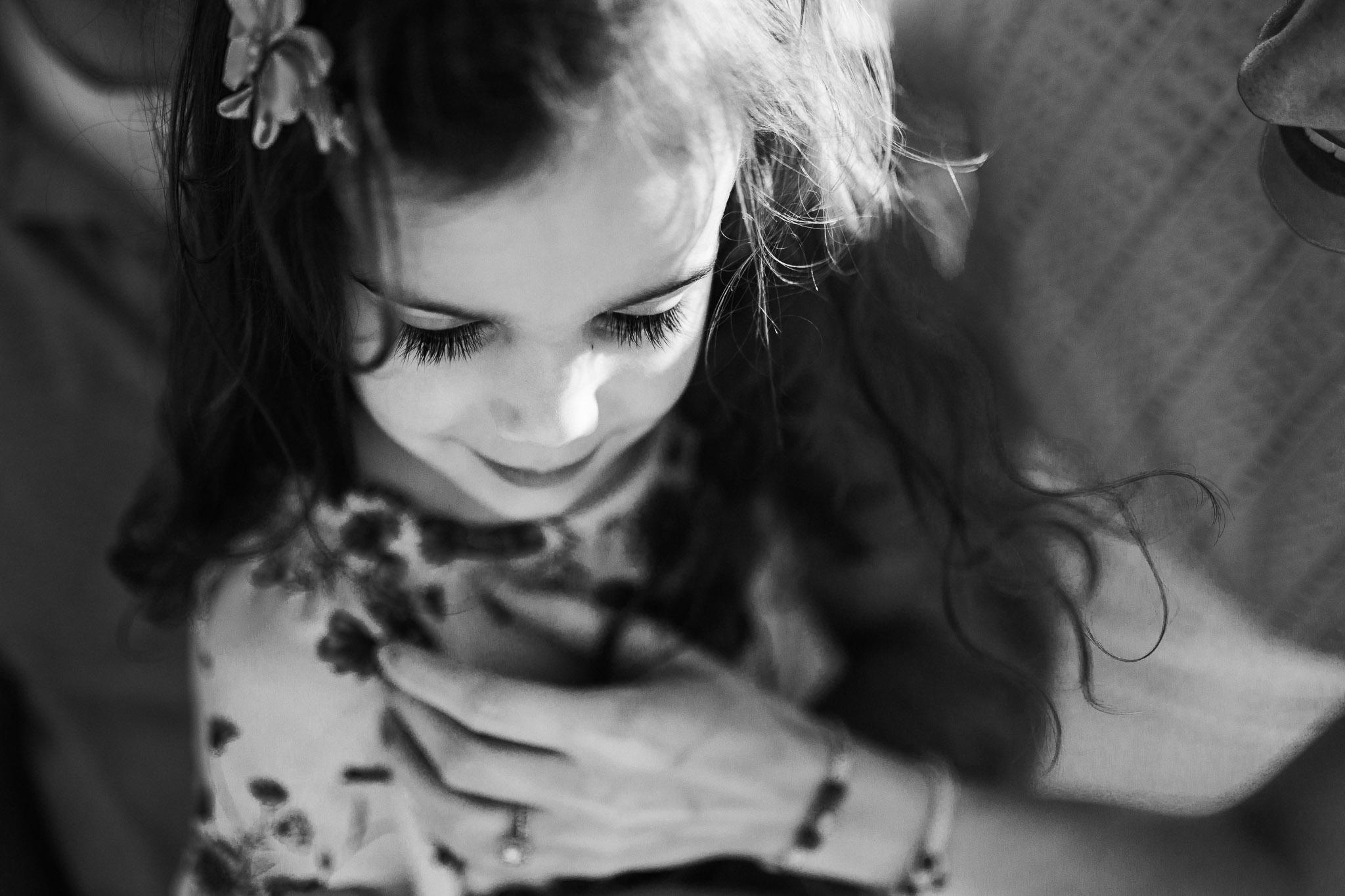 Black and white; close up of girl's eyelashes