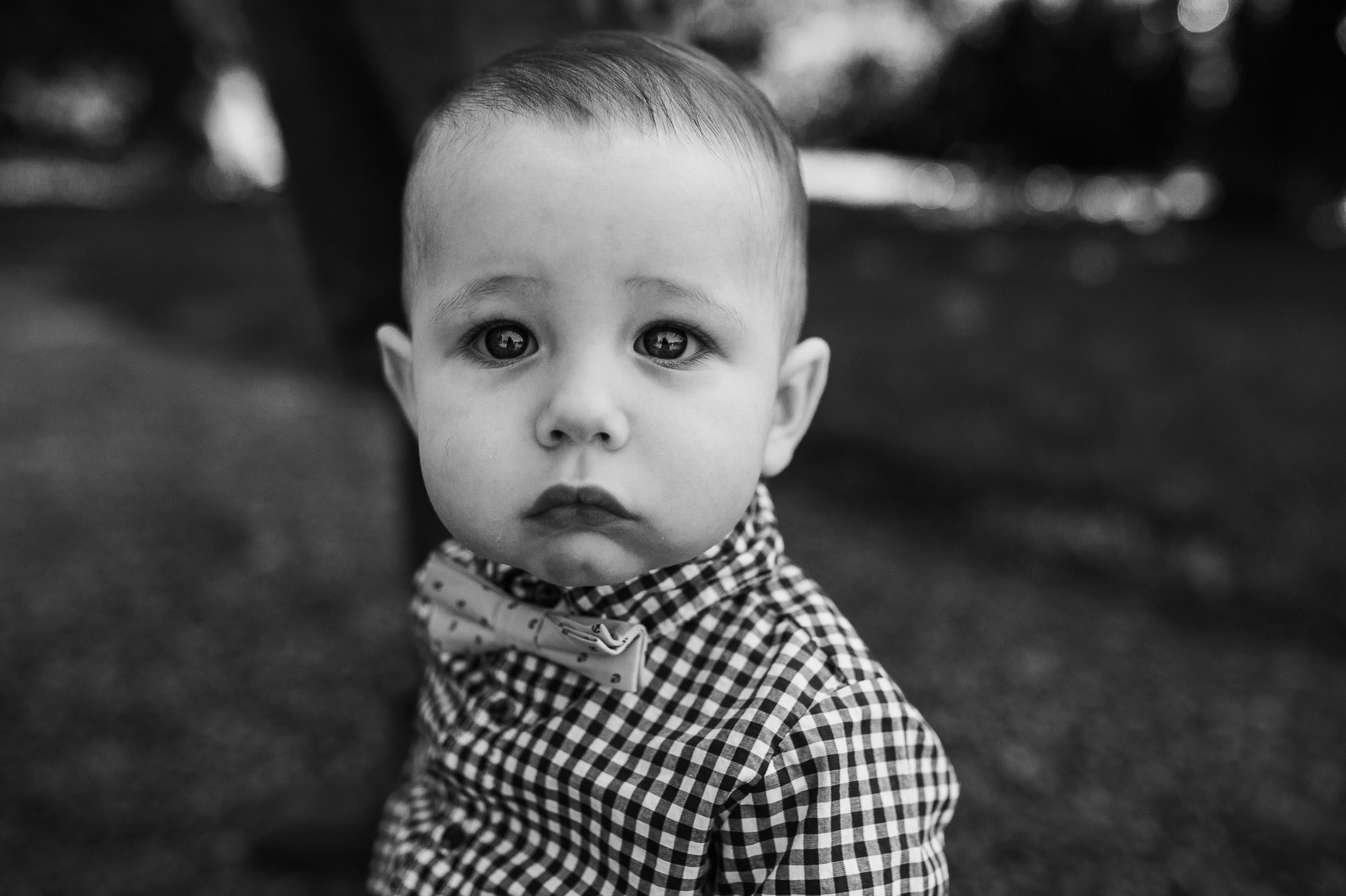 Black and white portrait of a one year old birthday boy at Morven Park in Leesburg, VA