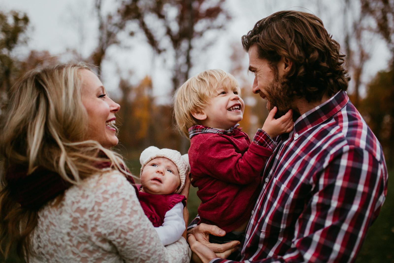Family of four at The Barn at One Loudoun, Ashburn, Virginia
