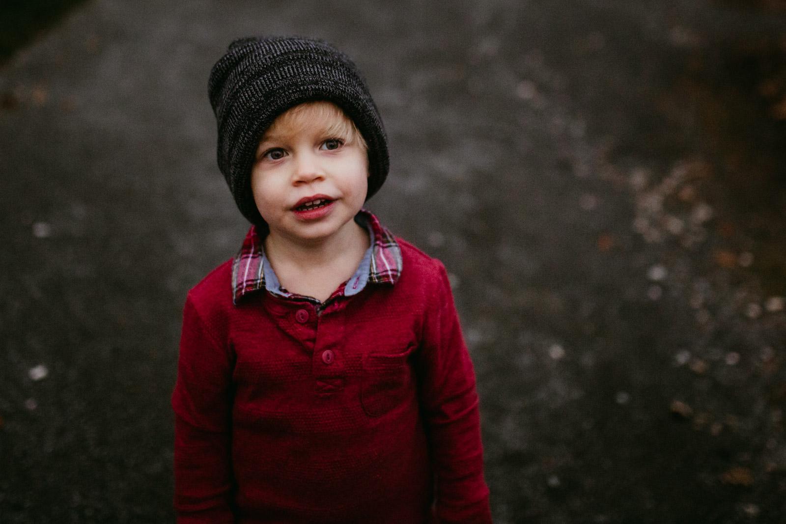Portrait of toddler boy at The Barn at One Loudoun, Ashburn, Virginia