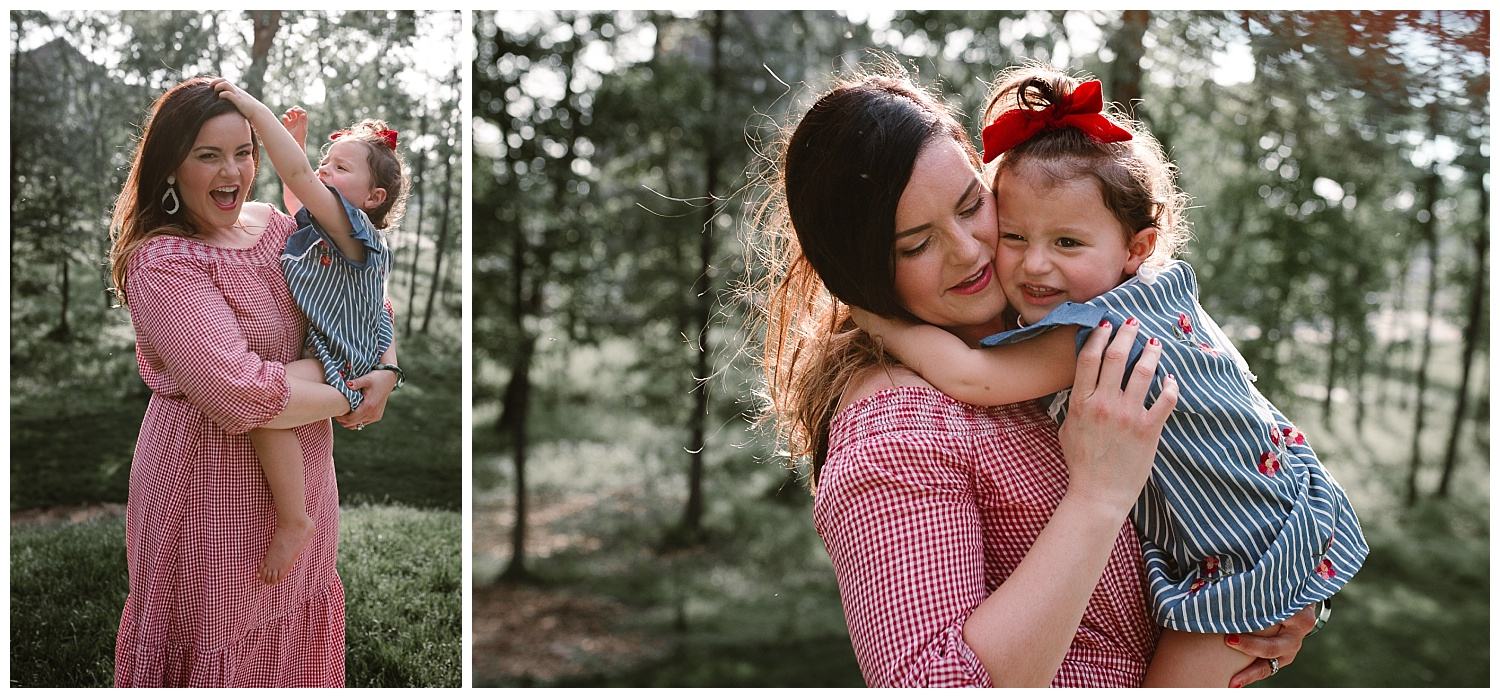 Collage of mom holding and hugging her toddler daughterat The Barn at One Loudoun in Ashburn, Virginia