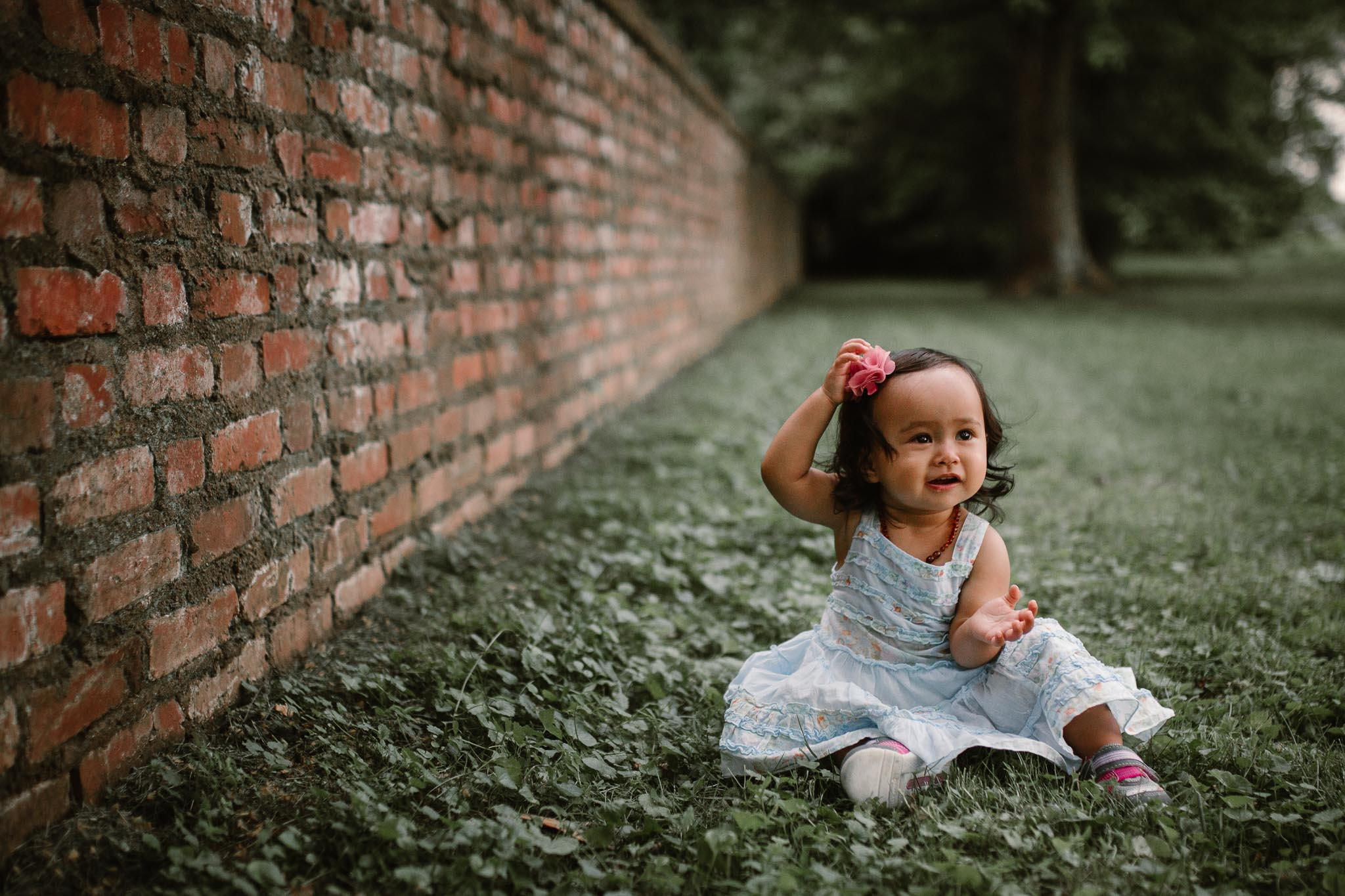 portrait of a toddler in a blue dress at Morven Park in Leesburg, Virginia