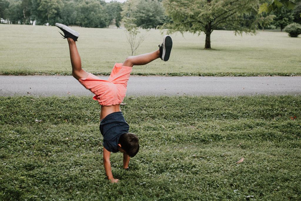 boy dancing handstand flip lifestyle family photography Marti Austin Photography Morven Park Leesburg Virginia